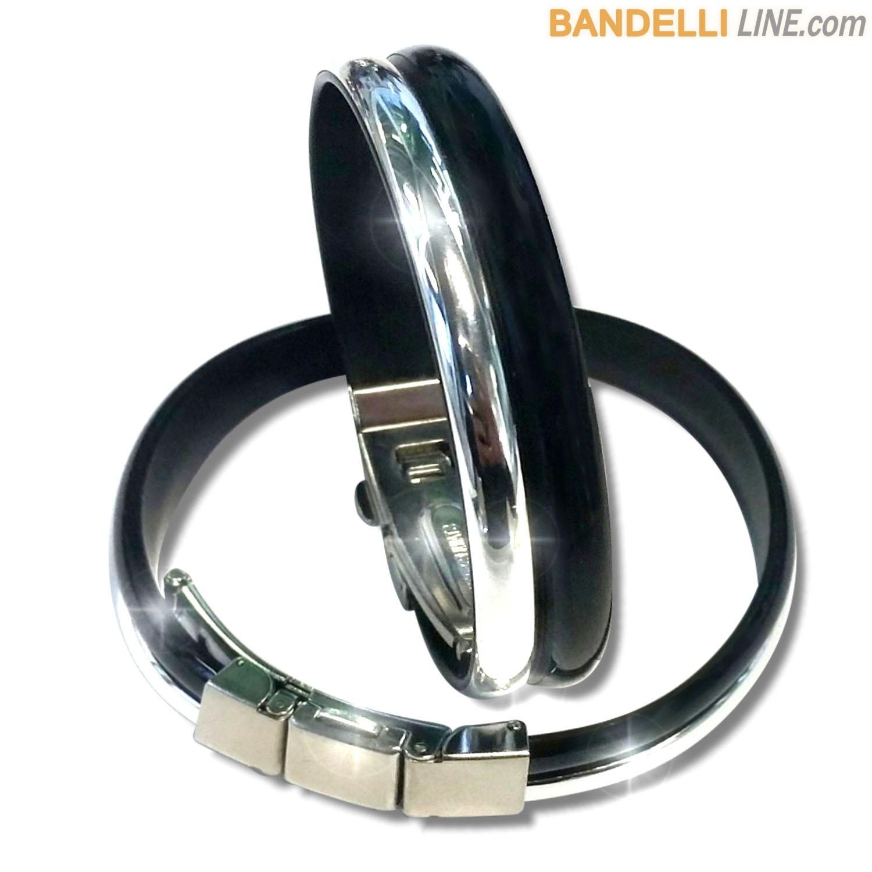 Braccialetto Onda 2 Nero Argento Lucido - Shiny Black Silver