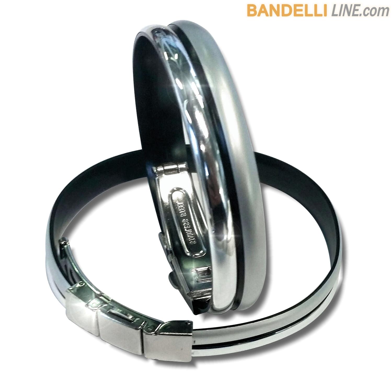 Braccialetto Onda 2 Argento Satinato e Argento Lucido - Shiny Silver Satin Silver