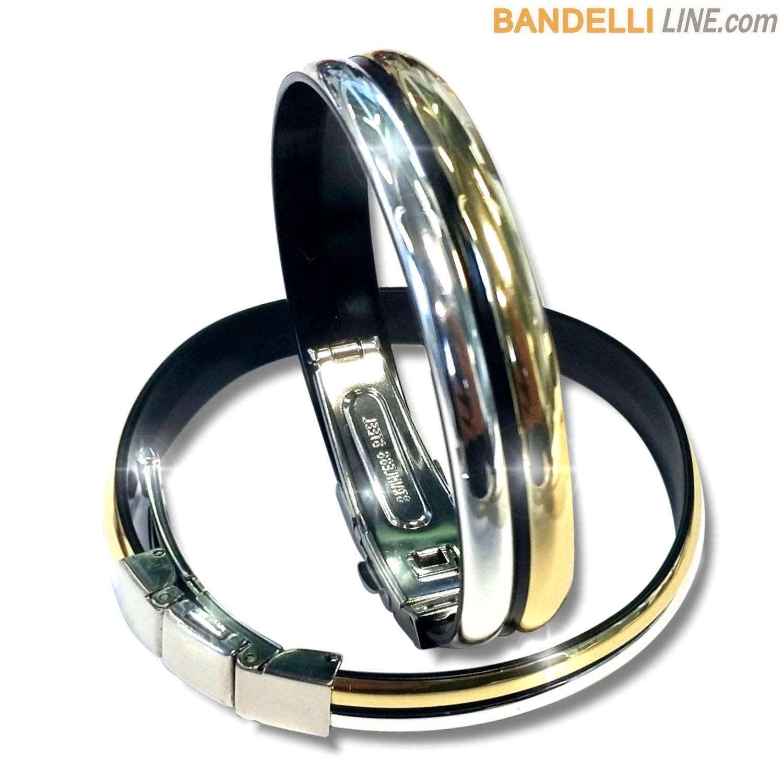 Braccialetto Onda 2 Oro Argento Lucido - Shiny Silver Gold