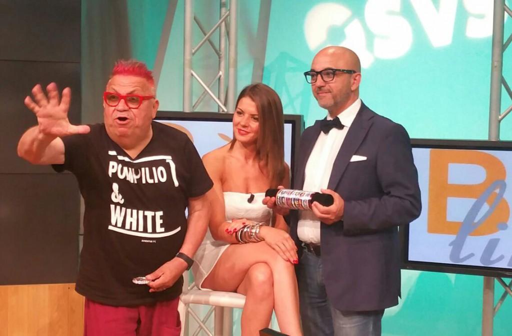 Pesce Pompilio e Pia Giannetta nel BackStage di TeleLombardia